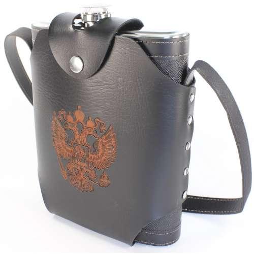 Фляжка кожзам в кобуре с гербом РФ 48 oz