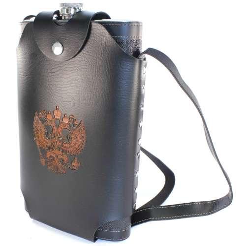 Фляжка кожзам в кобуре с гербом РФ 64 oz