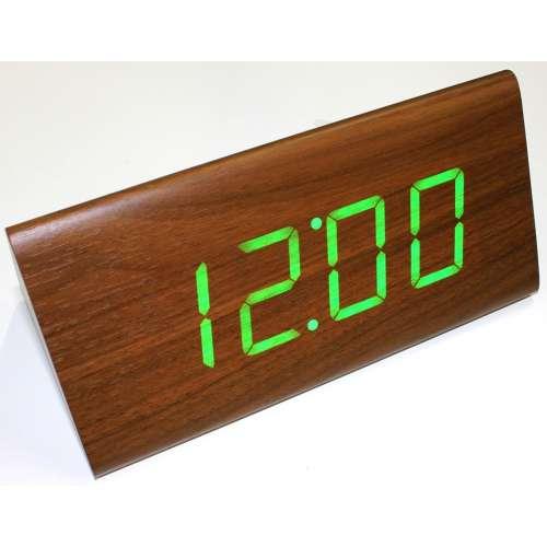 Часы настольные дерево VST-866 большие призма