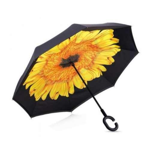 Умный зонт (зонт наоборот) с обратным открыванием Жёлтый цветок