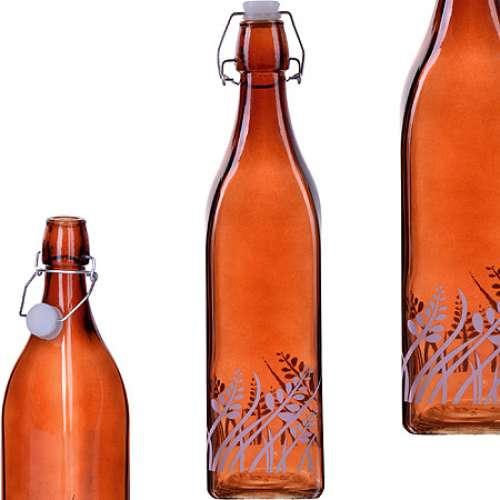 28171-3 Бутылка 1л стекло с крышкой КОРИЧНЕВЫЙ LR (х12)