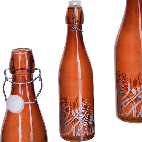 28172-3 Бутылка 1л стекло с крышкой КОРИЧНЕВЫЙ LR (х12)