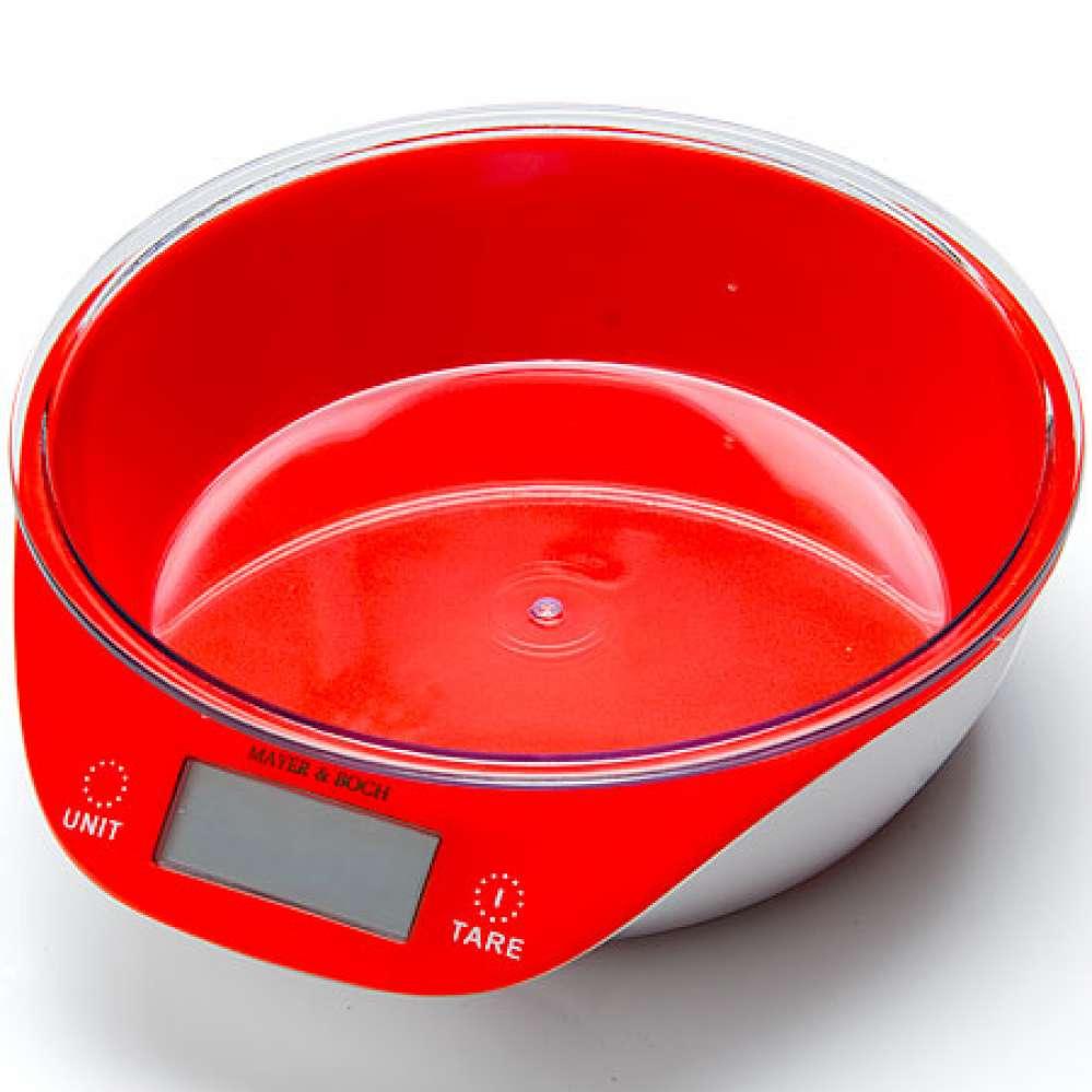 10955-1 Весы кухонные КРАСНЫЕ 5кг МВ (х12) оптом